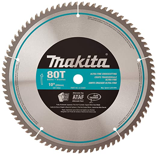 Makita A-93681 10-Inch 80 Tooth Micro Polished Miter saw Blade – Best Budget Friendly Miter Saw Blade