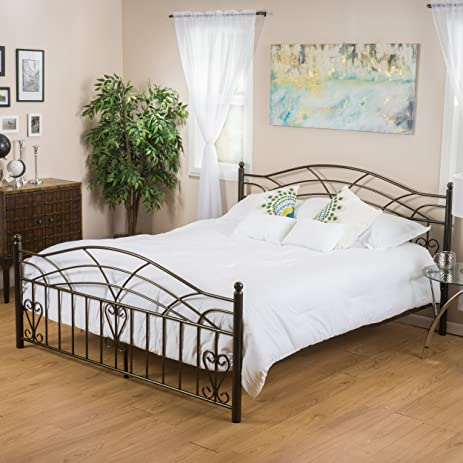Amazoncom Edsel Queen Size Copper Gold Finish Iron Bed Frame