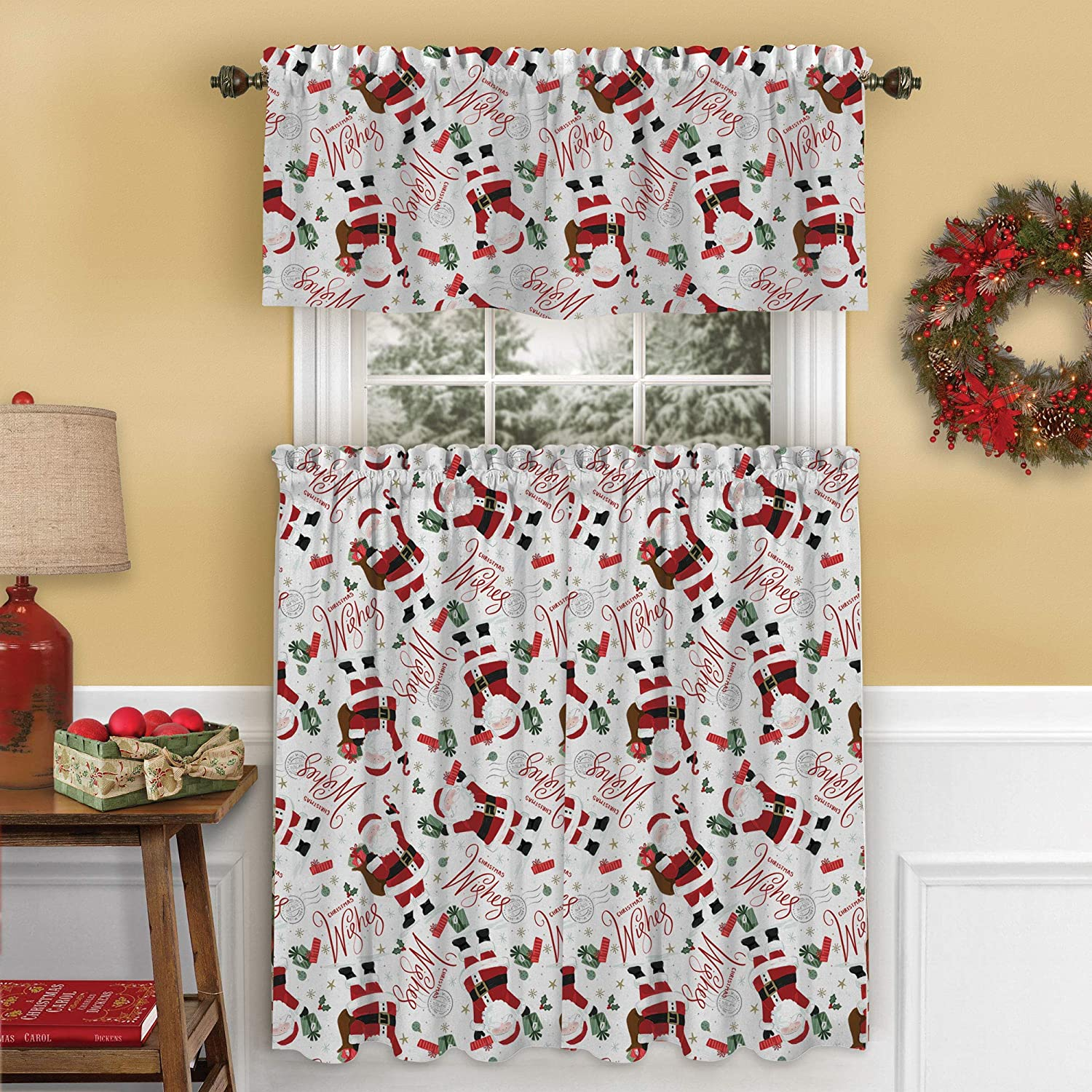 Elrene Home Fashions Santa Christmas Wishes Holiday Kitchen/Café and Bath Tiers and Valance, 3 Piece Set, 30
