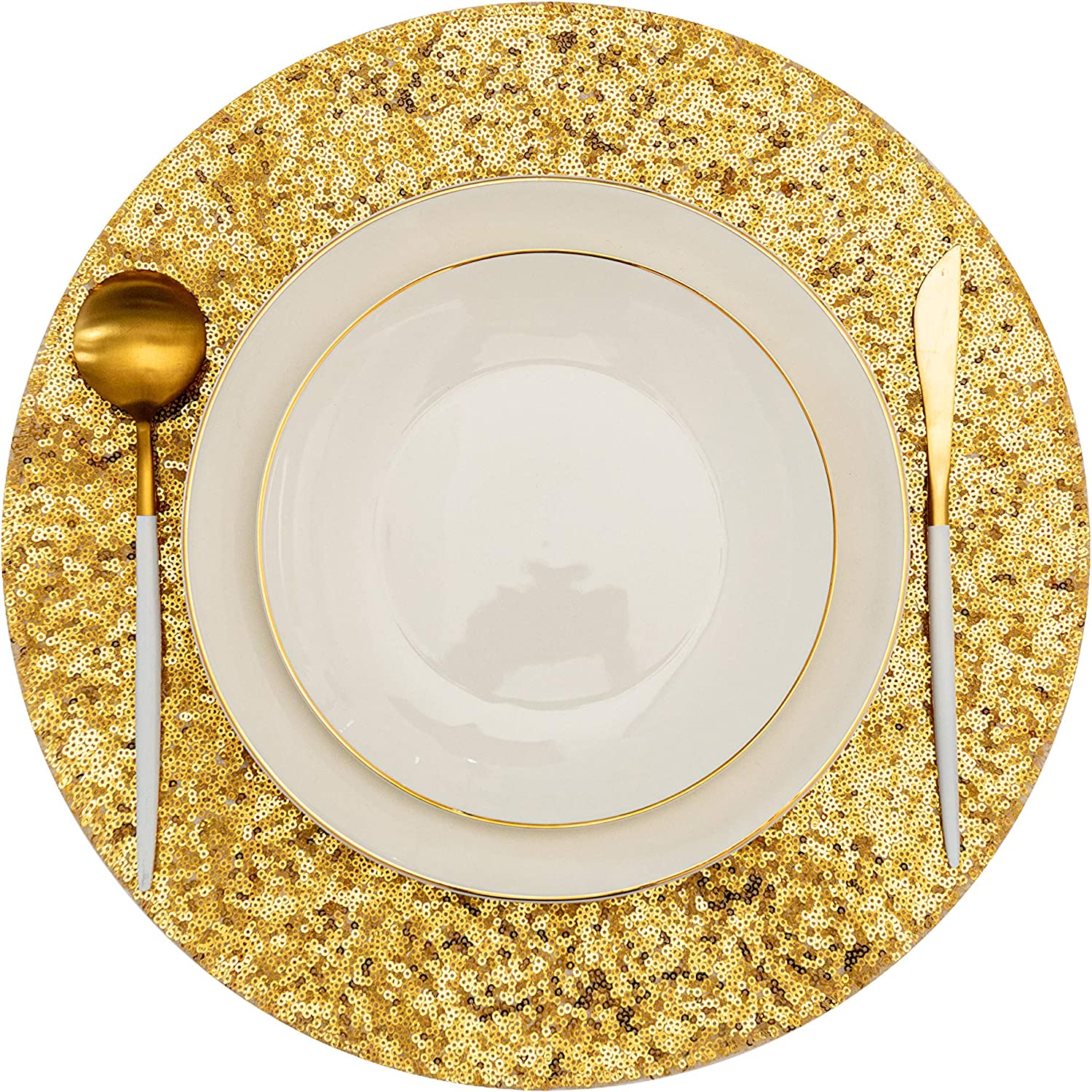 Sequin Round Placemats for Dining Table Set of 6 Gold Place Mats , Washable Glitter Placemats for Table Decor Wedding Accent Centerpiece (Gold, 6)