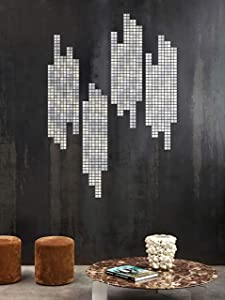 Kath & Cath 100 Pieces Acrylic Mirror Wall Sticker Mirror Mosaic Tile Wall Decal for Home Living Room Bedroom Wall Décor(Silver)