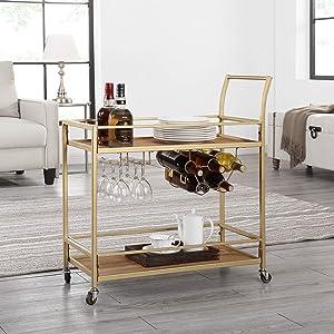 """FirsTime & Co. Francesca Bar Cart, 32""""H x 15""""W x 12.25""""D, Gold"""