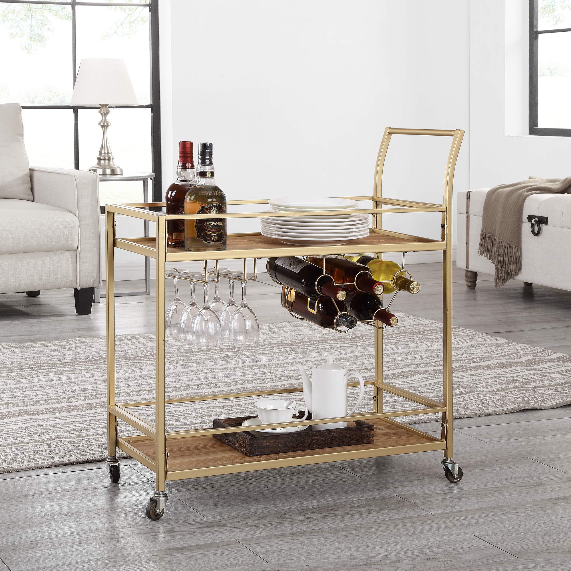 FirsTime & Co. 70095 Francesca Bar Cart, 32'' H x 15'' W x 12.25'' D, Gold by FirsTime & Co.