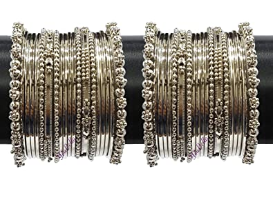 7c78aea2d77ad YouBella Jewellery Traditional Silver Plated Oxidized Bracelet Bangles Set  for Girls and Women (2.4)  Amazon.in  Jewellery