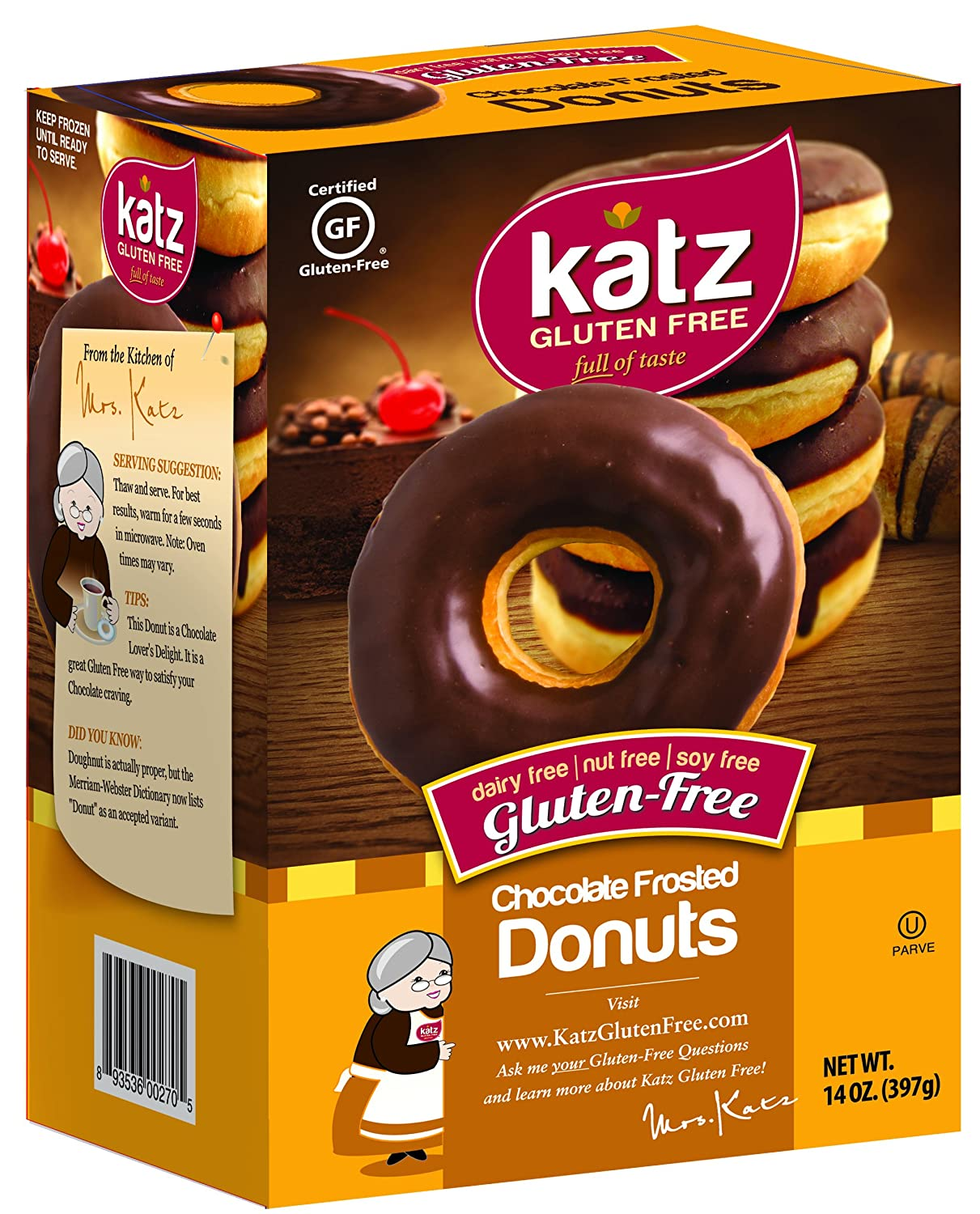 Katz, Gluten Free Chocolate Frosted Donuts, 14 Ounce, (6 Pack ...