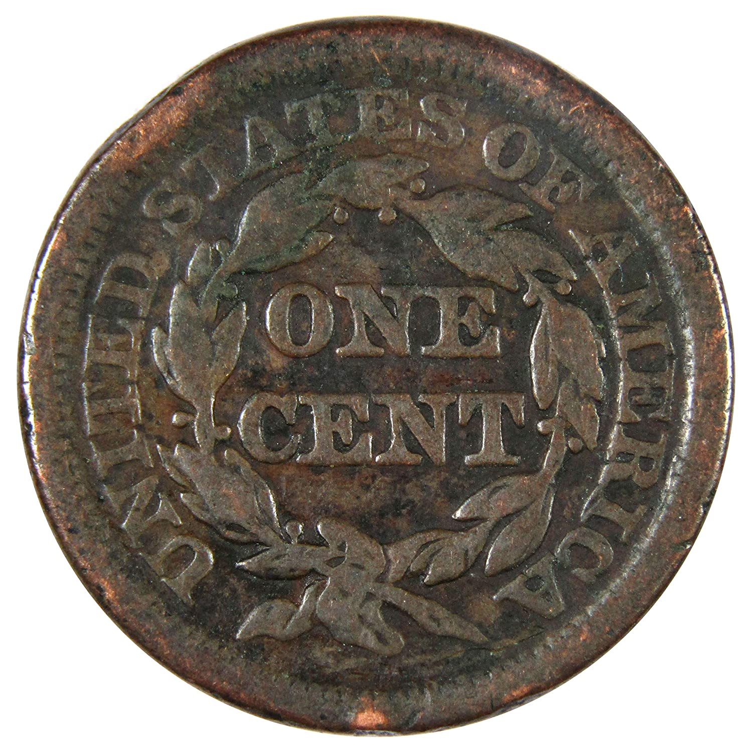 1848 1c Braided Hair Large Cent Penny Coin