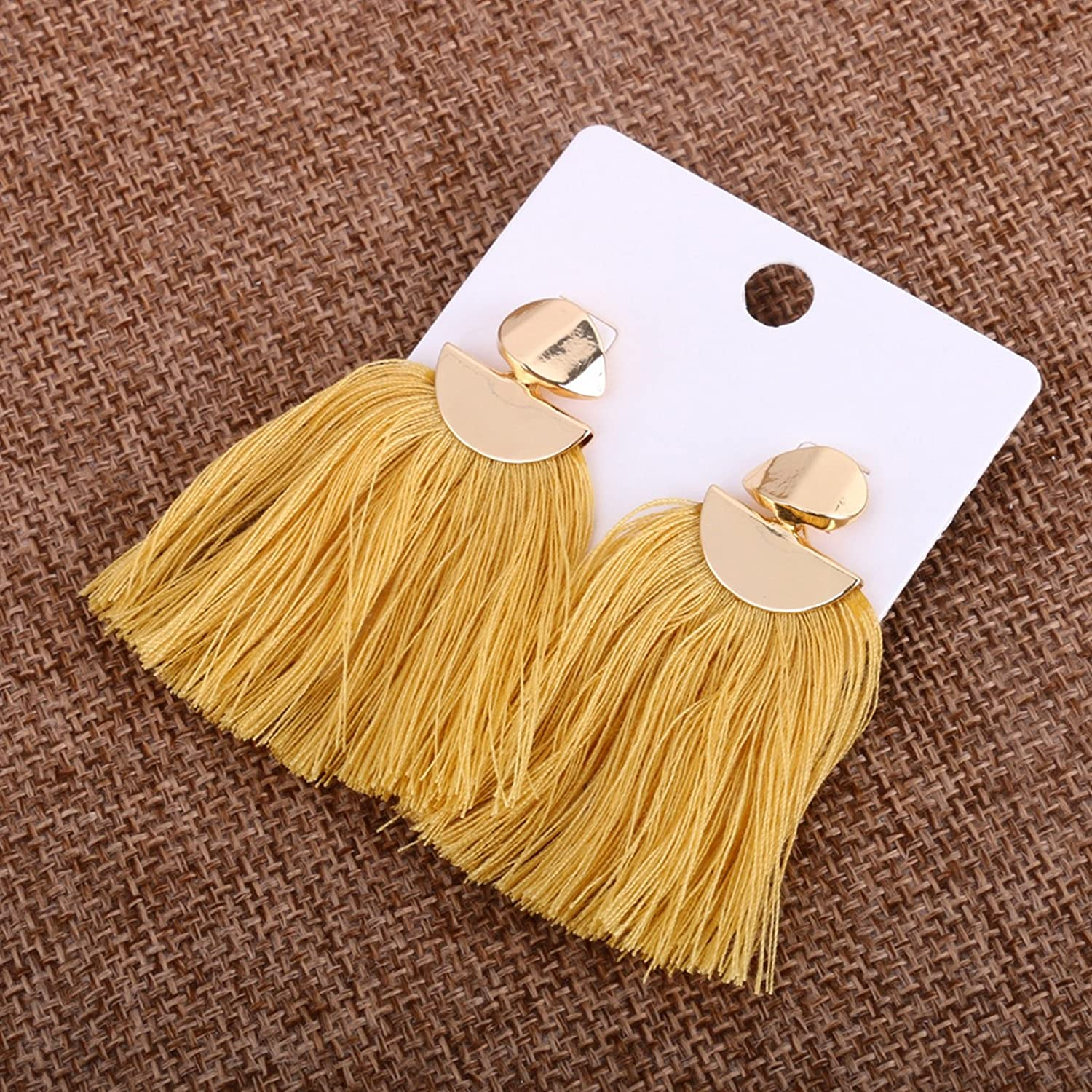 Bishilin Gold Plated Earrings for Women Sector Line Tassel Anniversary Party Earrings Yellow