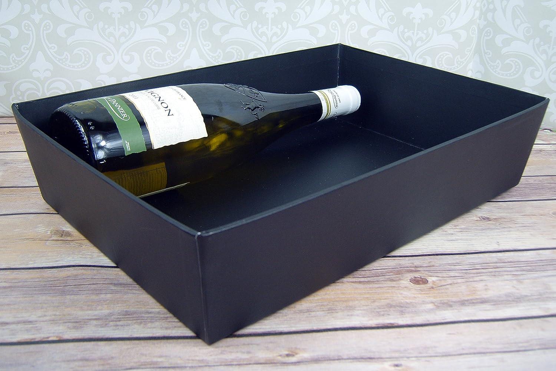Kit para preparar una cesta de regalo 30cm x 20cm x 6cm high negro lazo dorado y bolsa de celof/án con bandeja negra de cart/ón Medium