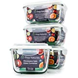[Premium] Glass Meal Prep Containers [4-Pack] Microwave, Freezer & Oven safe - Food Storage with SmartestLock Lids [Comparable to Glass Tupperware Container Set ] by Prep Naturals