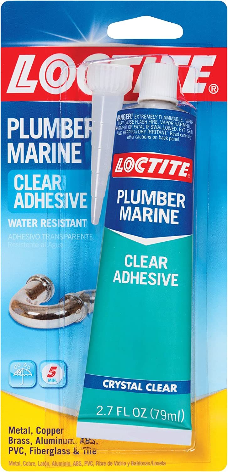 Loctite Plumber and Marine Clear Adhesive, 2.7 Fluid Ounce Tubes, 6 Pack (1716864-6)