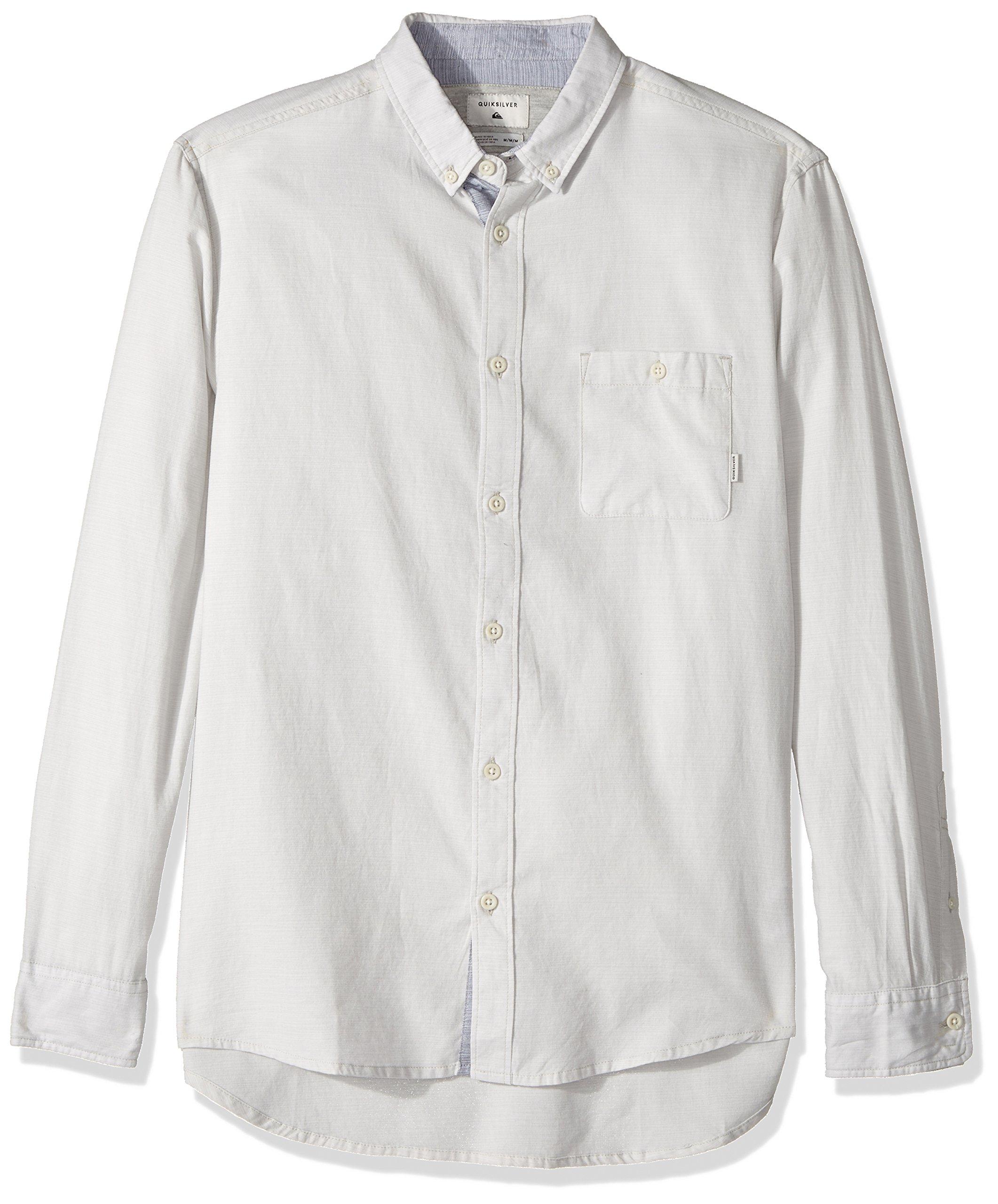 Quiksilver Men's Waterfalls Long Sleeve Shirt, Micro Chip, Large