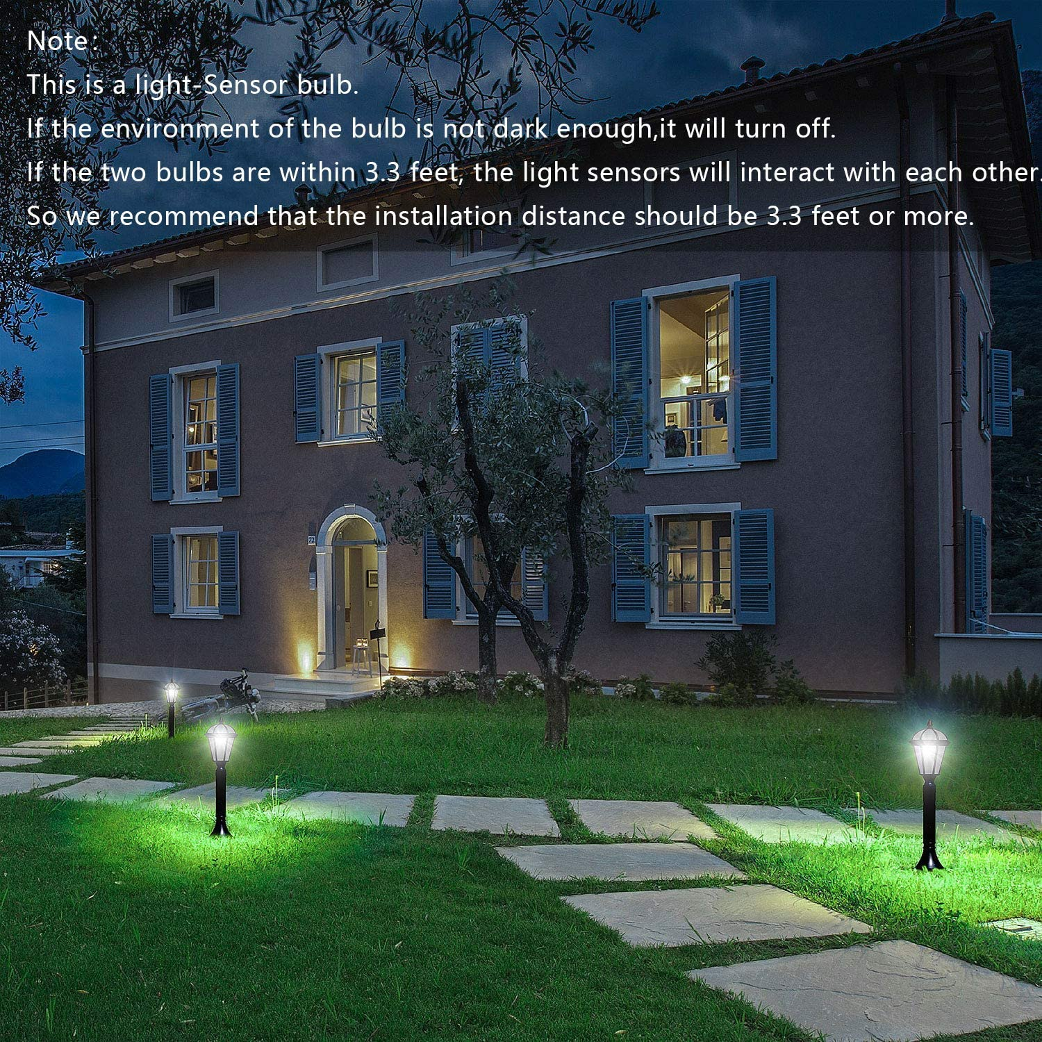 Dusk to Dawn Light Sensor Light Bulbs Porch Driveway Security Light LED Candle Bulb Bogao E12 Candelabra LED Bulb 2 Pack White 6000K 6W 60W Equivalent Not Dimmable Candelabra Base