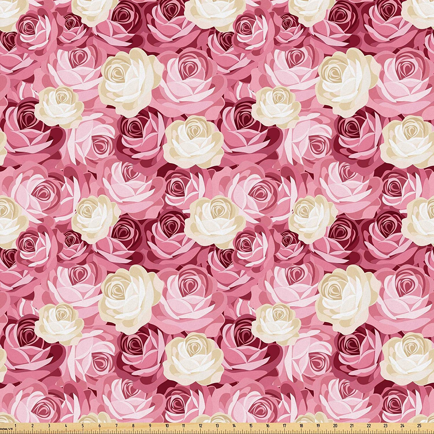 Lunarable Roses Fabric by The Yard, Feminine Pattern Victorian Gardens Inspired Vintage Floral Pastel Colored Arrangement, Microfiber Fabric for Arts and Crafts Textiles & Decor, 1 Yard, Cream Pink