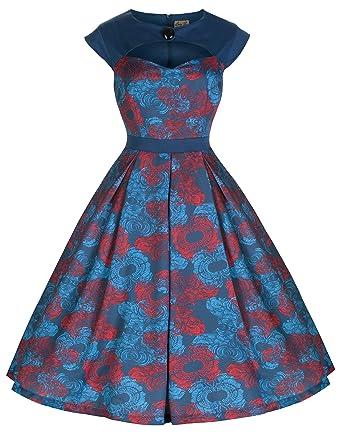 d5f85336cd14 Lindy Bop Lottie  Vintage 1950 s Style Wave Ripple Print Party Dress ...