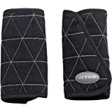 JJ Cole - Reversible Strap Covers, Helps Prevent Strap Irritation in Car Seat, Jogger, and Stroller for Newborns and Infants, Black Tri Stitch, Birth and Up