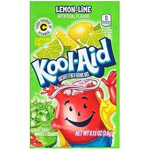 Kool-Aid Lemon Lime Flavored Unsweetened Caffeine Free Powdered Drink Mix (0.13 oz Packet)