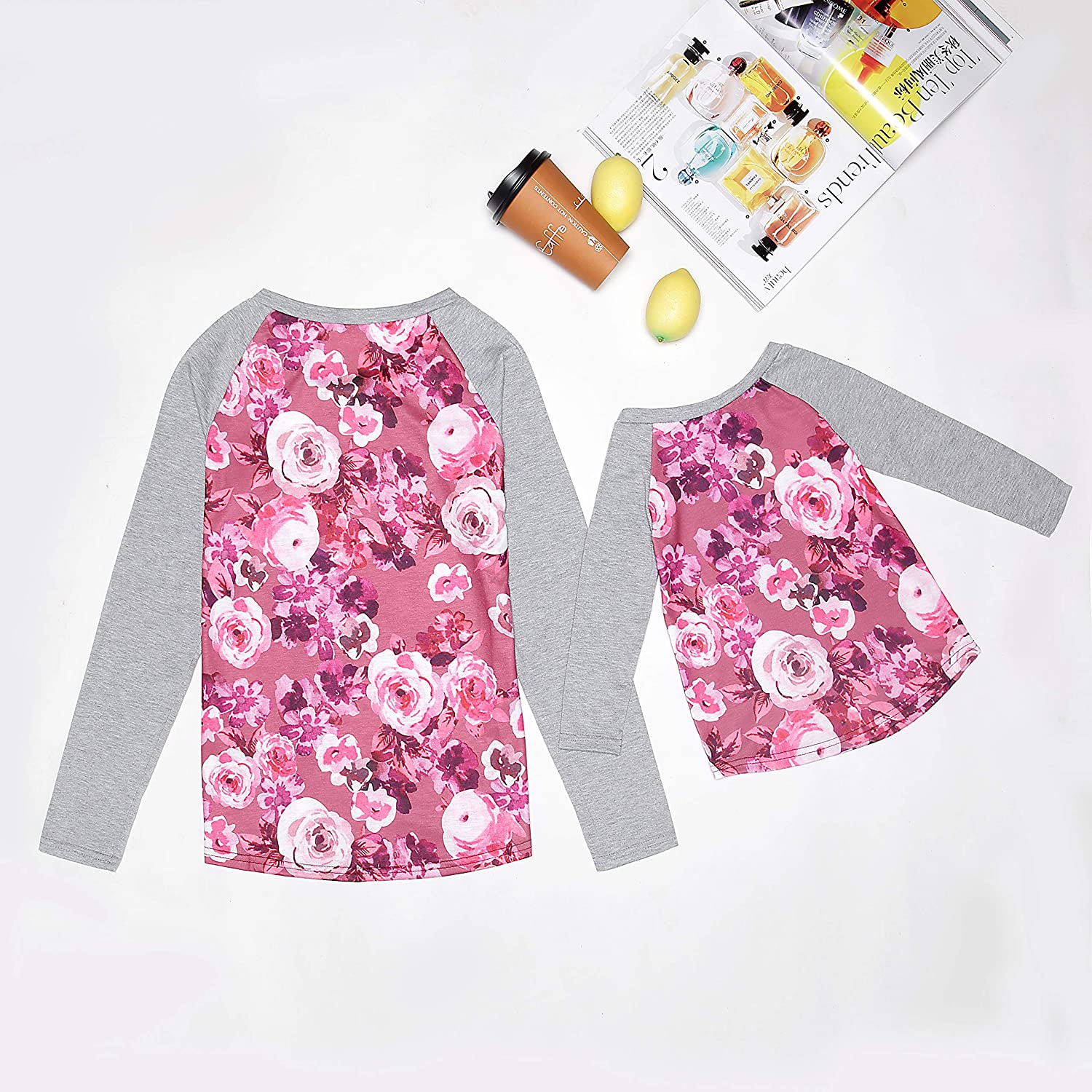 YT Baby Mommy and Me Floral Print Long Sleeve T Shirt Blouse Tops Mother and Daughter Family Matching Clothes