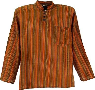 Guru-Shop, Camisa a Rayas Nepal Fisher Goa Camisa Hippie, Naranja, Algodón, Tamaño:42, Camisas de Hombre: Amazon.es: Ropa y accesorios
