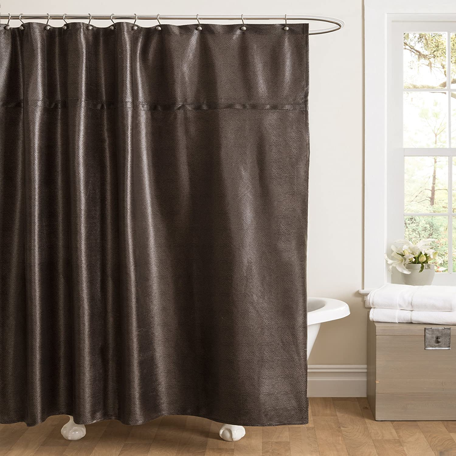 Sinatra silver shower curtain - Amazon Com Lush Decor Rylee Shower Curtain 72 By 72 Inch Black Home Kitchen