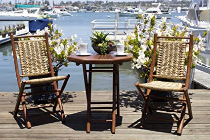 Heather Ann Creations The Kauai Collection Contemporary Style Bamboo Wooden  3 Piece Table And Chairs