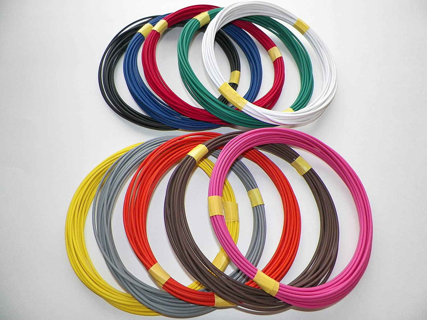 B073NMP1Y6 Automotive Copper Wire, GXL, 14 GA, AWG, GAUGE Truck, Motorcycle, RV, General Purpose. Order by 3pm EST Shipped Same Day (10 Colors 25' Each) 91Sff2Bqsq4L