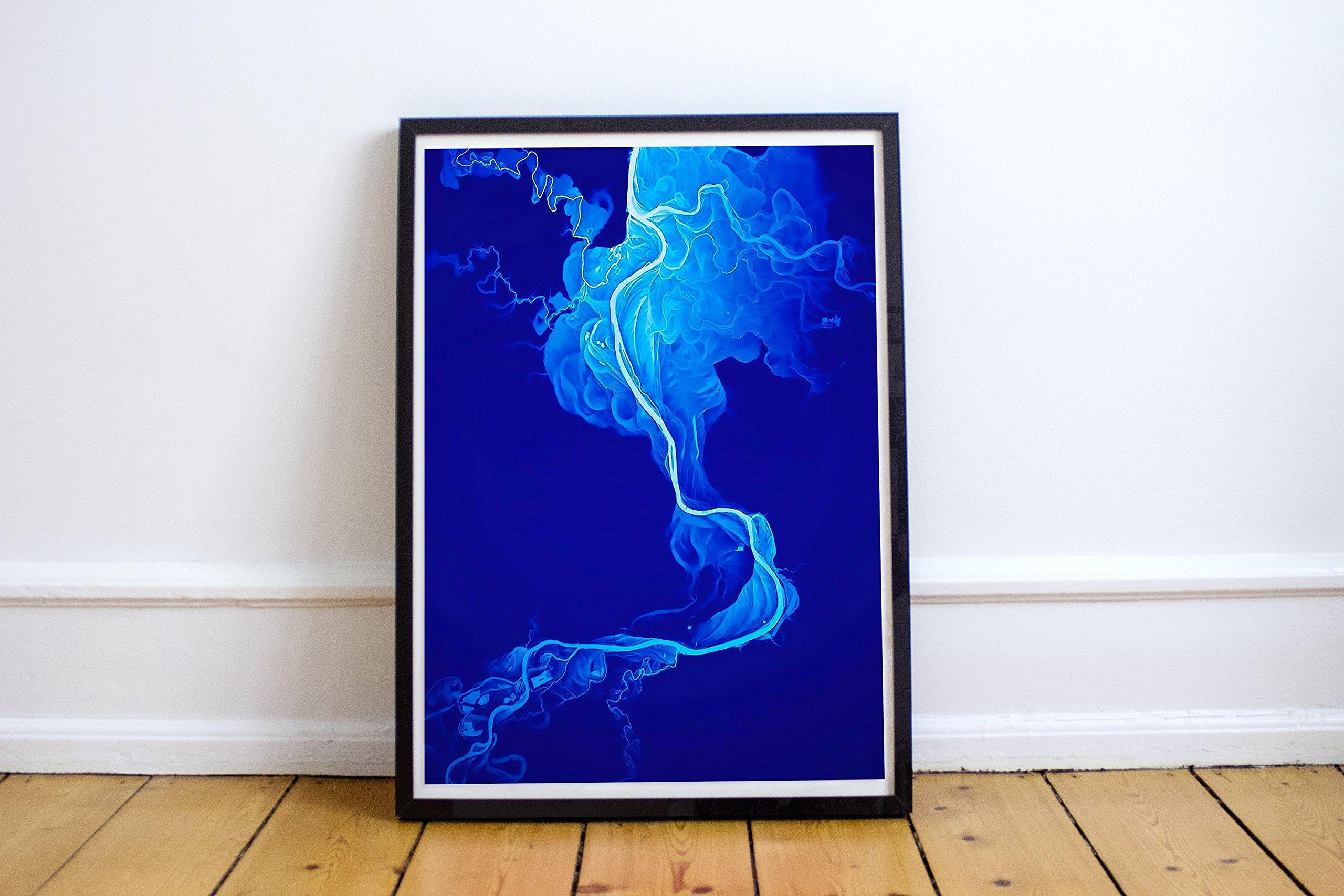 Blue Smoke Abstract Art