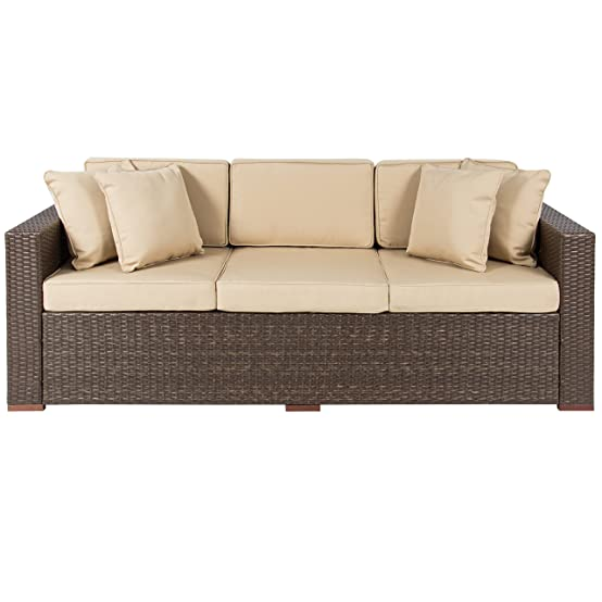 Amazon.com: Best ChoiceProducts Outdoor Wicker Patio Furniture Sofa 3  Seater Luxury Comfort Brown Wicker Couch: Garden U0026 Outdoor