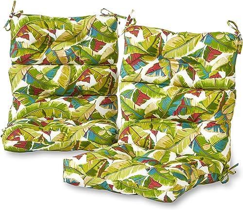 Greendale Home Fashions AZ6809S2-PALM-MULTI Tropical Multi Outdoor High Back Chair Cushion Set of 2