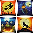 Elyhome 4 Pack 18x18 Halloween Throw Pillow Covers Cotton Linen Burlap Decorative Square Cushion Covers Set