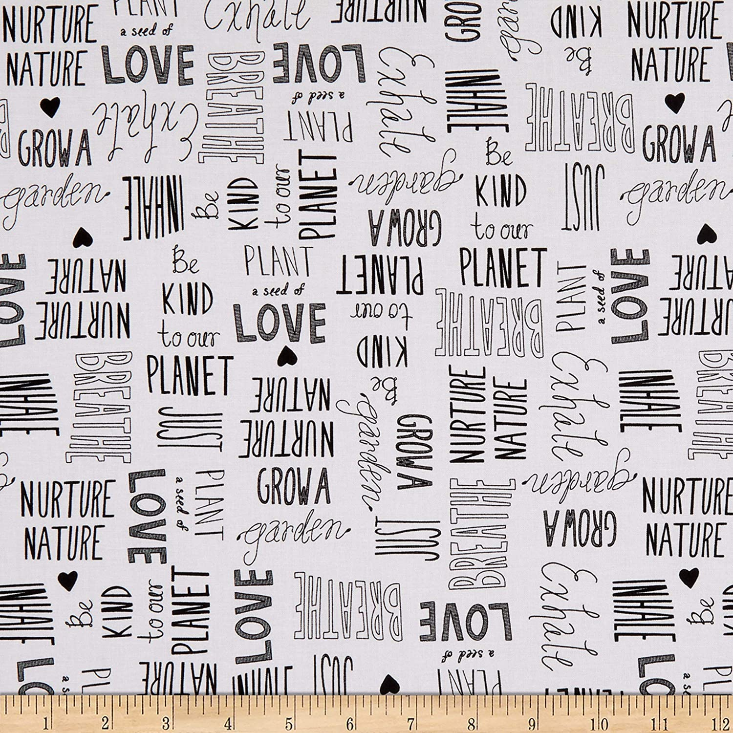 Windham Love The Earth Nature Lover White Fabric by the Yard