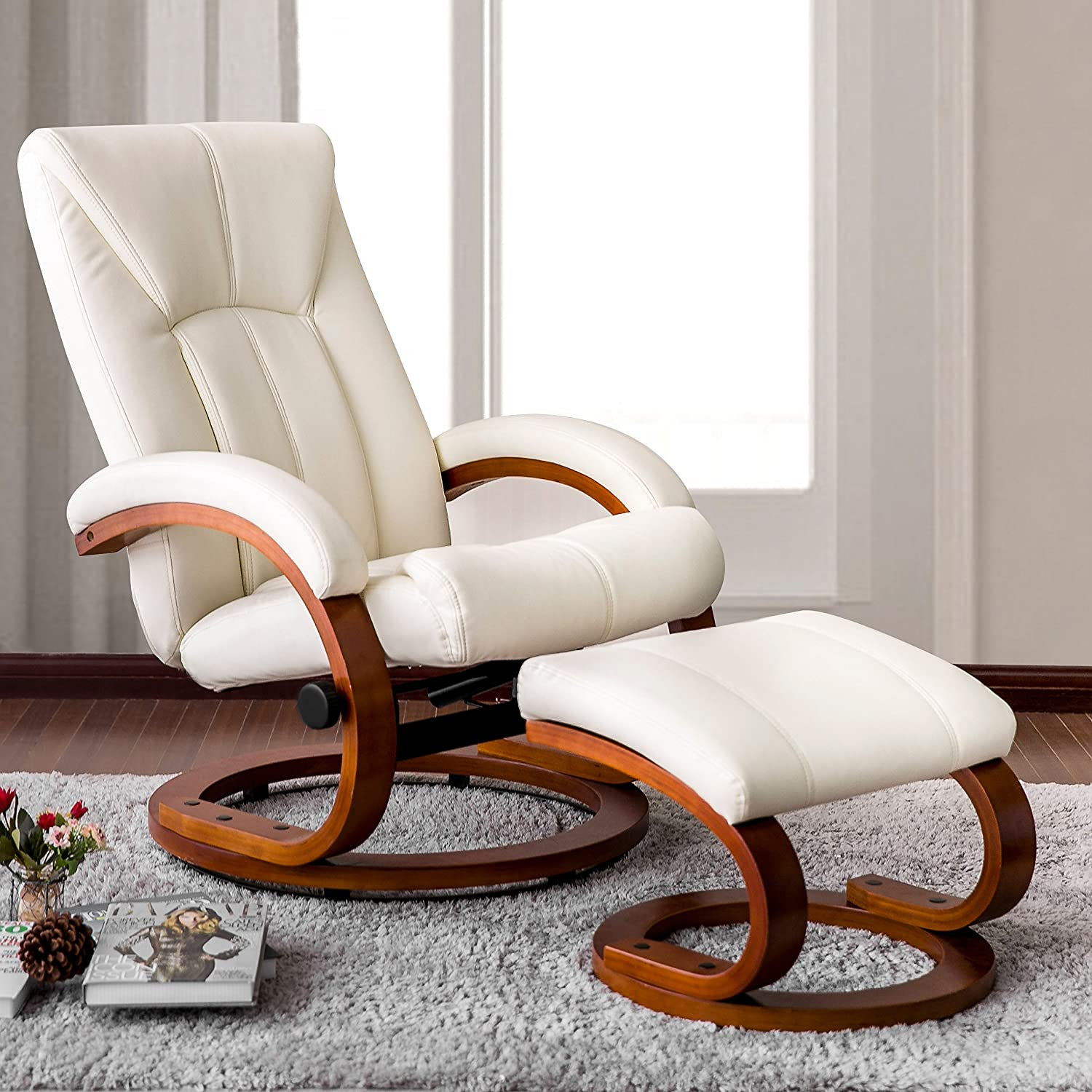 Haper & Bright Designs Swivel Recliner and Ottoman Beige Leather Lounge Seat with Foot Stool and Wooden Base (Beige)