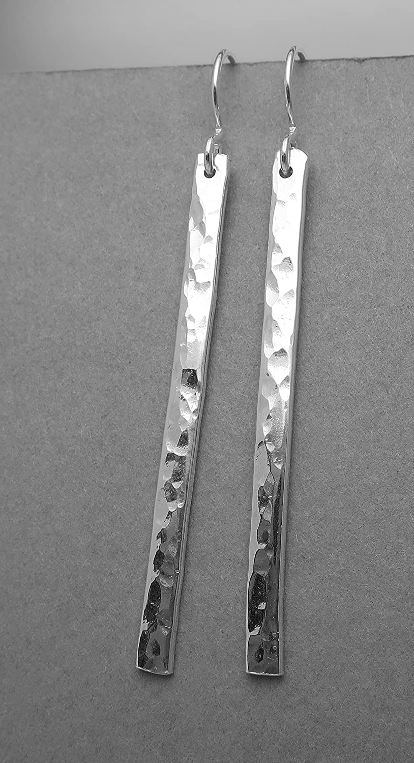 Skinny .925 Solid Sterling Silver Long Hammered bar stick dangle earrings sparkly shiny