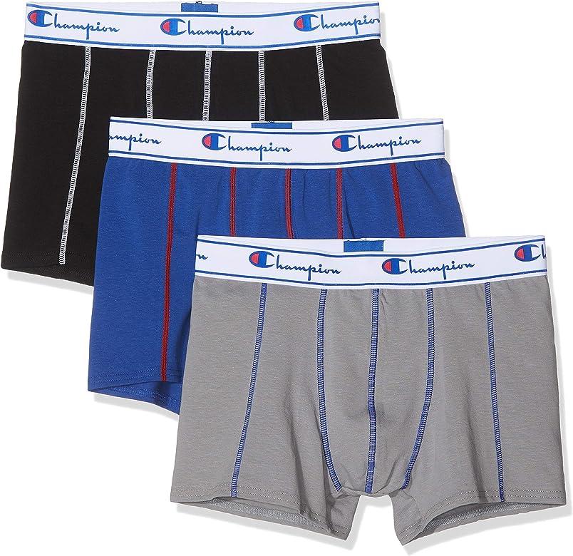 Champion Boxer Coton X3, Multicolor (Noir/Gris/Bleu 8vq), Small ...