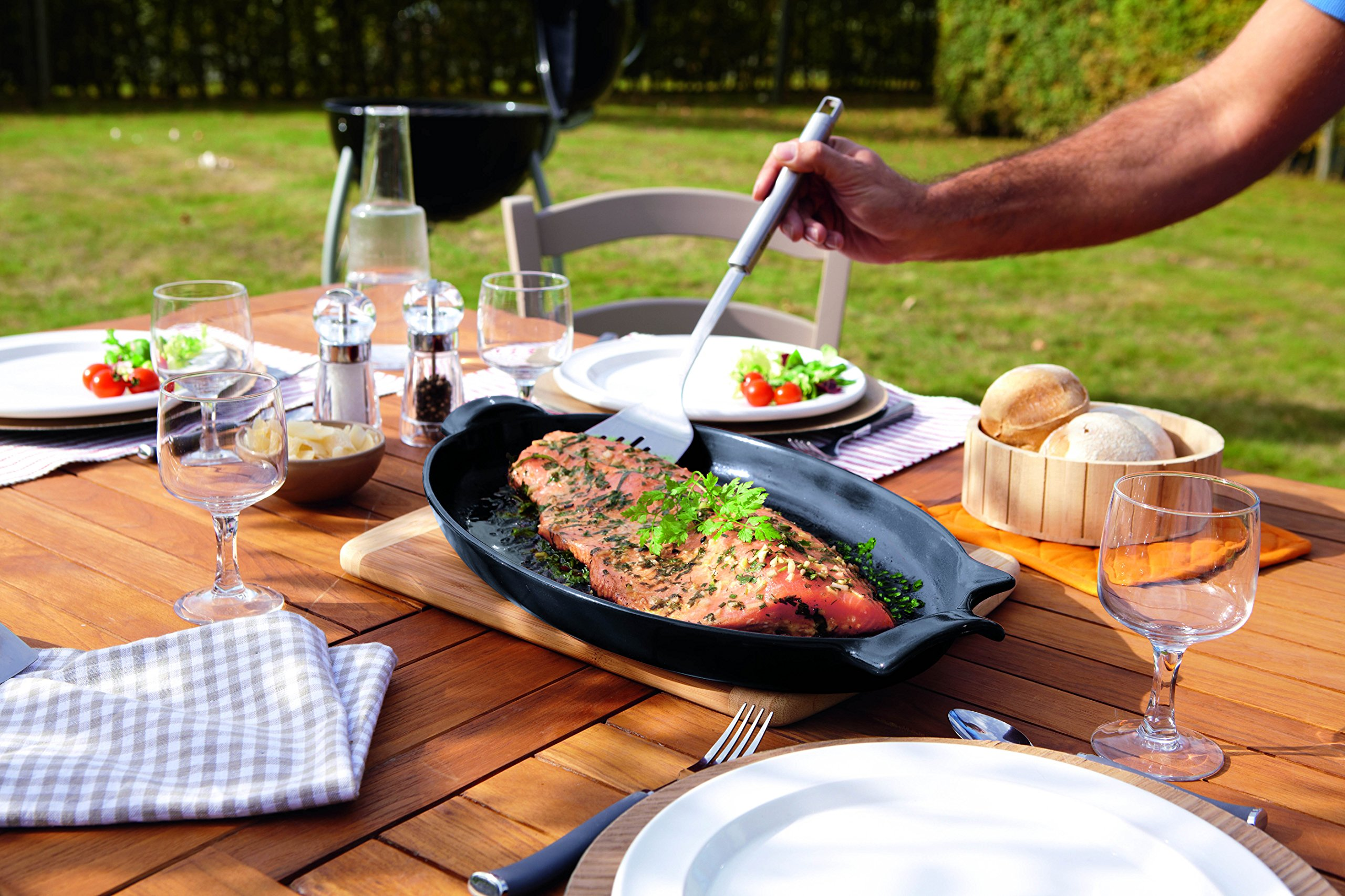 Emile Henry Made In France Flame BBQ Fish Baking Dish, 19.7 x 11'', Charcoal by Emile Henry (Image #2)