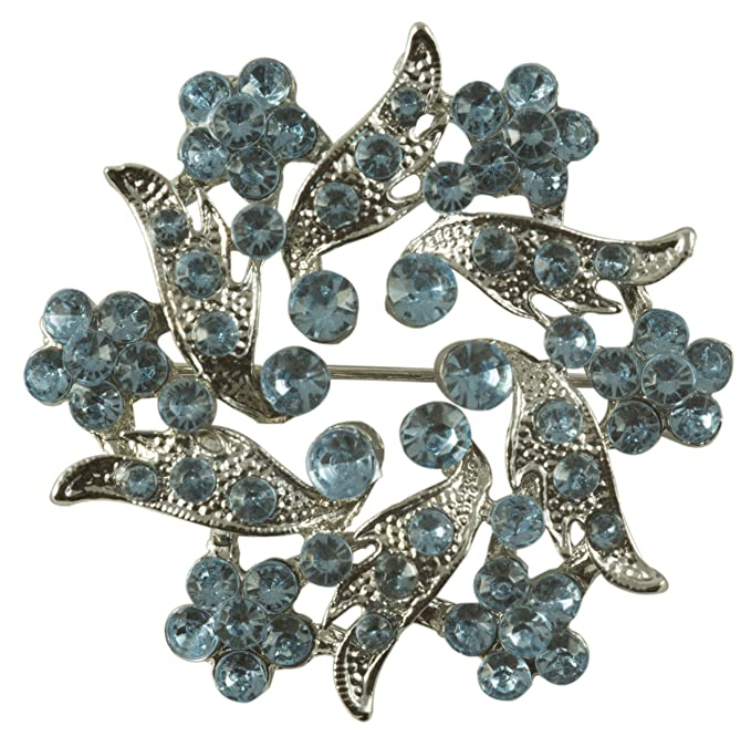 Vintage Style Jewelry, Retro Jewelry Light Blue Rhinestones in Silver Metal Finish Pin/brooch $3.25 AT vintagedancer.com