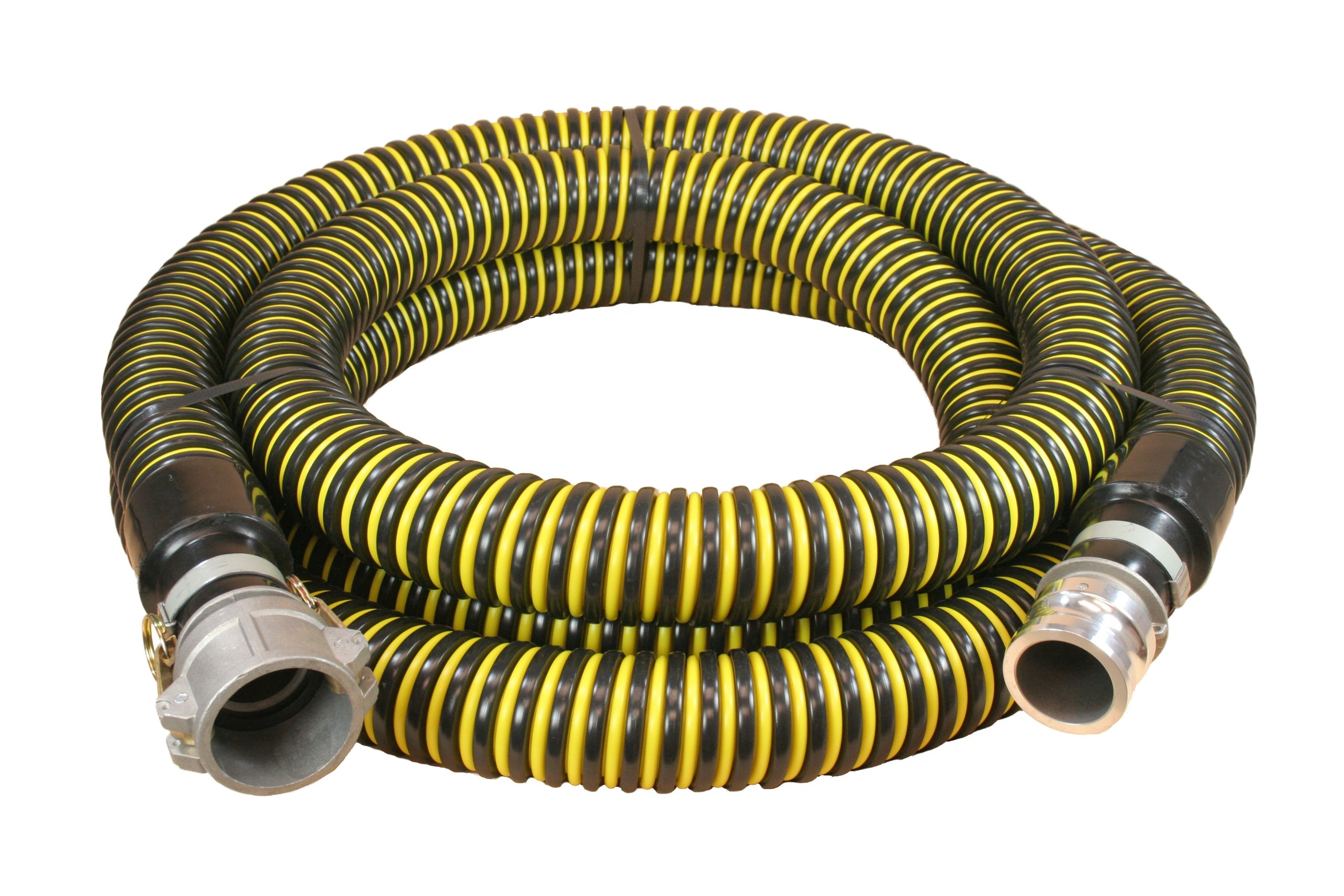 Plastiflex Plastic HI-VAC Suction Hose Assembly, Yellow/Black, 2'' Male X Female Cam and Groove, 15 psi Max Pressure, 20' Length, 2'' ID by Abbott Rubber