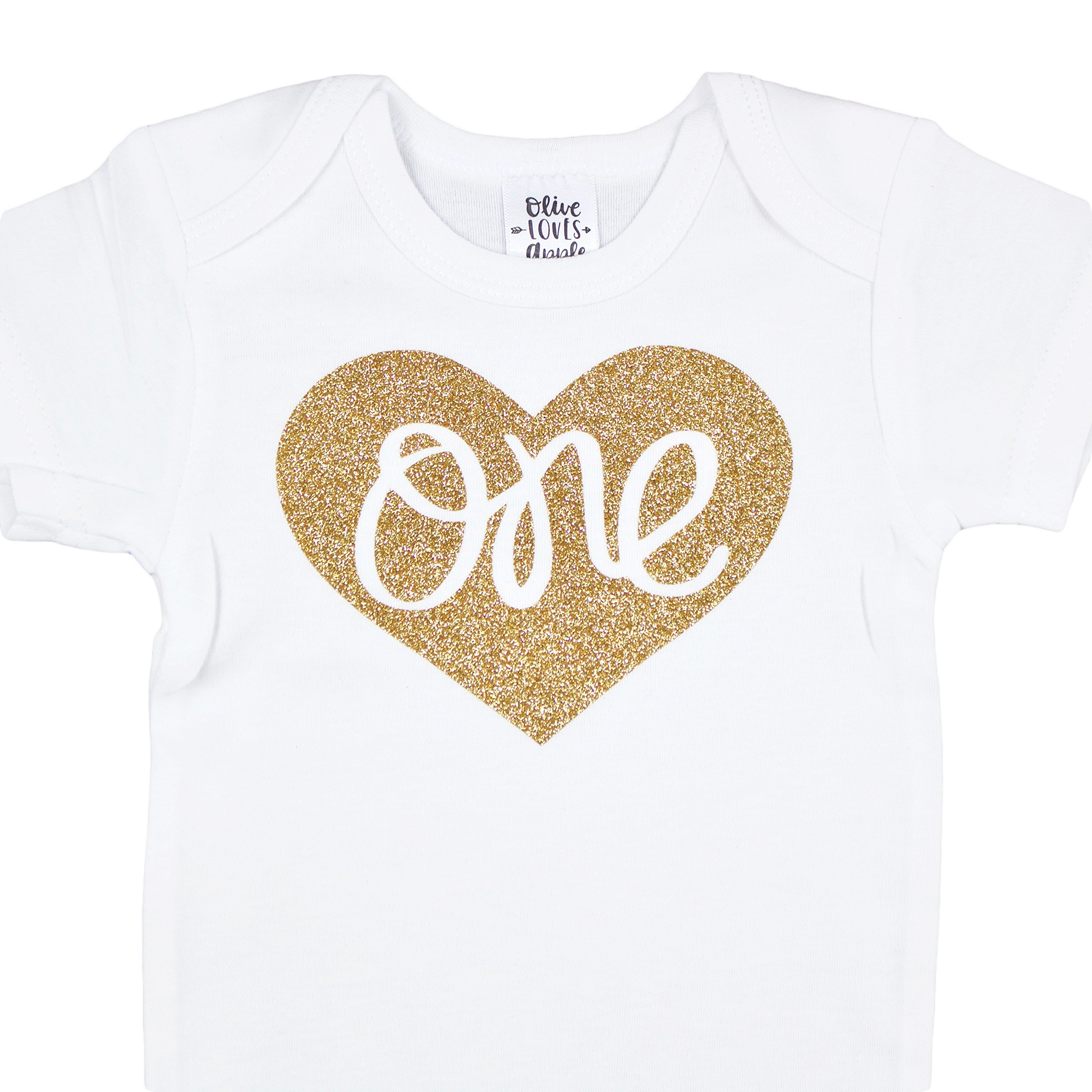 Baby Girls First Birthday Onesie Sparkly Gold One inside Heart design 1st Birthday Onesie Girl, Gold, 18-24 months short sleeve