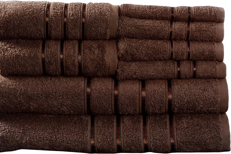 Lavish Home 8 Piece 100% Cotton Plush Bath Towel Set Choc