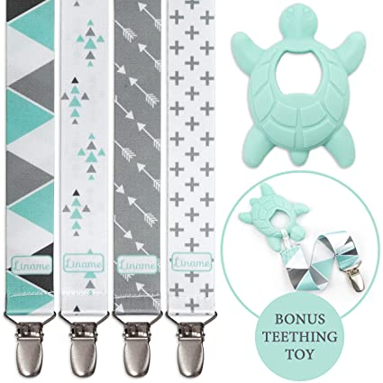 Perfect Baby Gift /… 4 Pack Gift Packaging Liname/® Dummy Clip for Boys with Bonus Teething Toy /& eBook Dummy Clips Fit All Dummies /& Soothers Premium Quality /& Unique Design