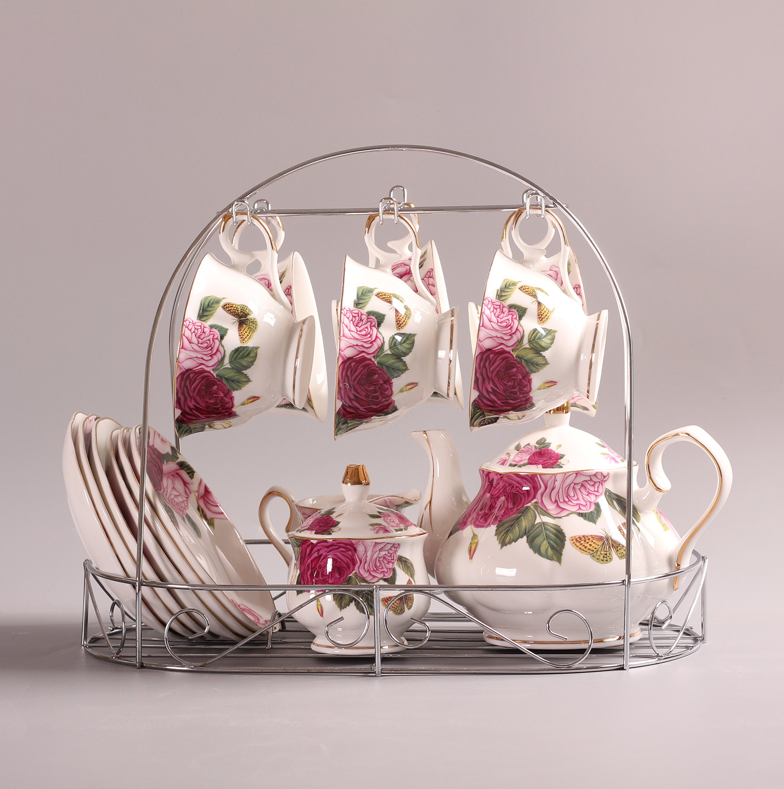 Bone China The butterfly lingers over the flower Printed Ceramic Porcelain Tea Cup Tea Set With Lid And Saucer,Coffee Set of 15 by ufengke®-ts