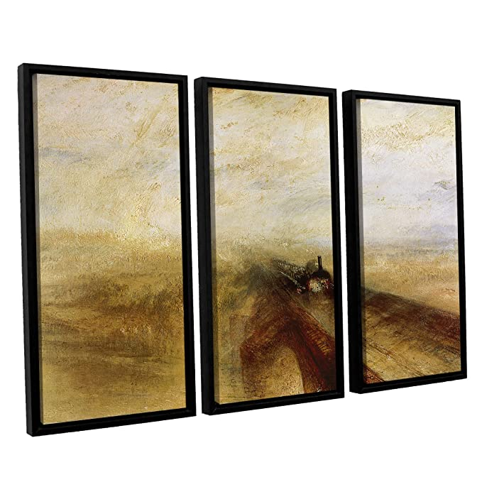 36 x 54 ArtWall William Turners Rain Steam and Speed The Great Western Railway Ii 3 Piece Floater Framed Canvas Set