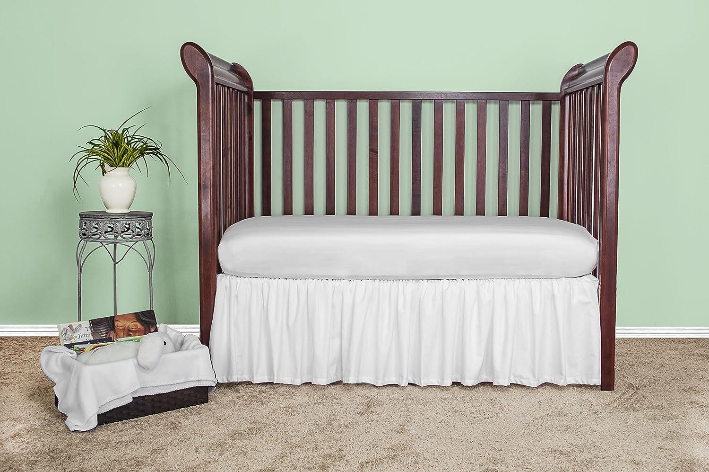 21 inch long WHITE Cribskirt Gathered Crib Dust Ruffle
