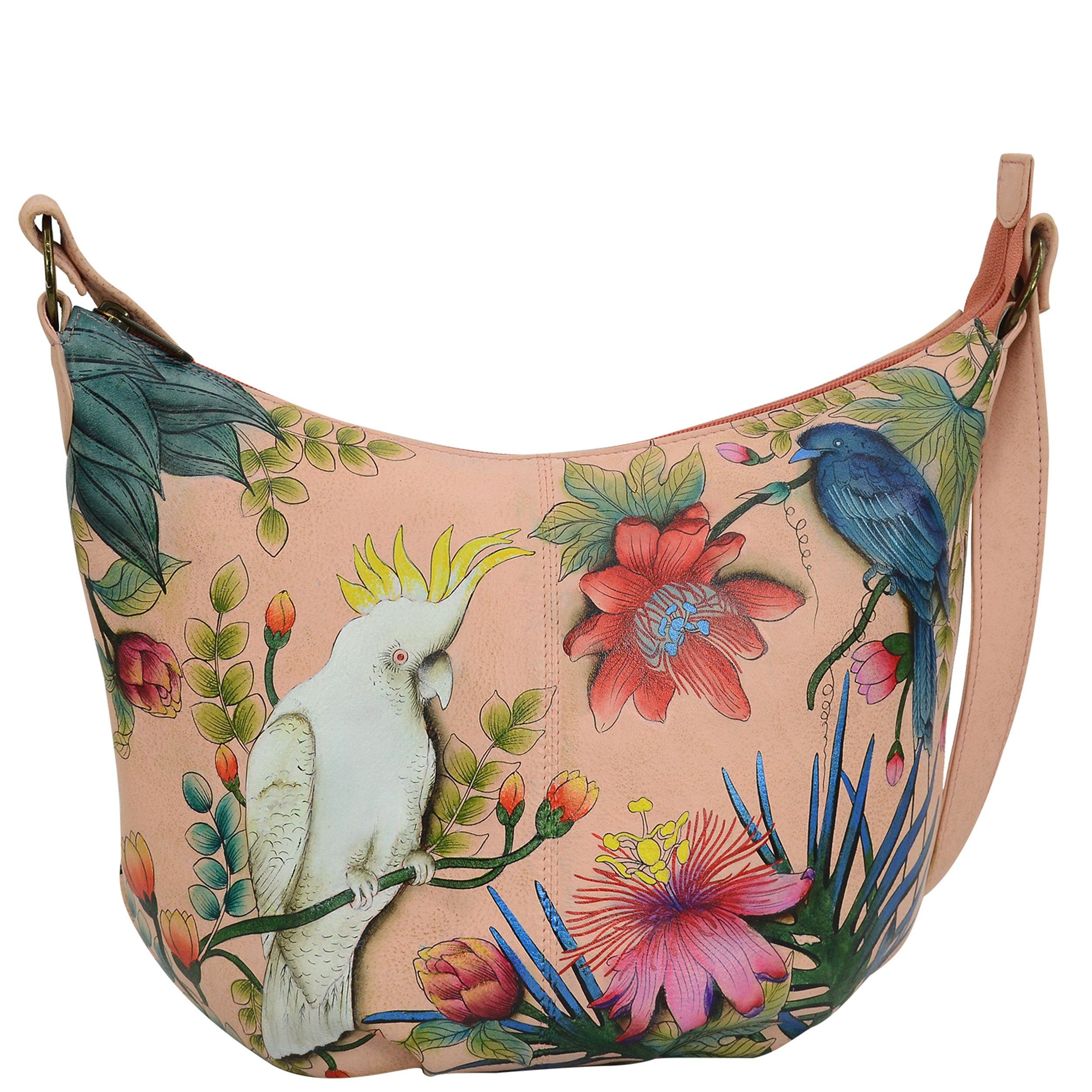 Anuschka Women's Medium Hobo Leather Hand Painted Shoulder Bag, Cockatoo Sunrise