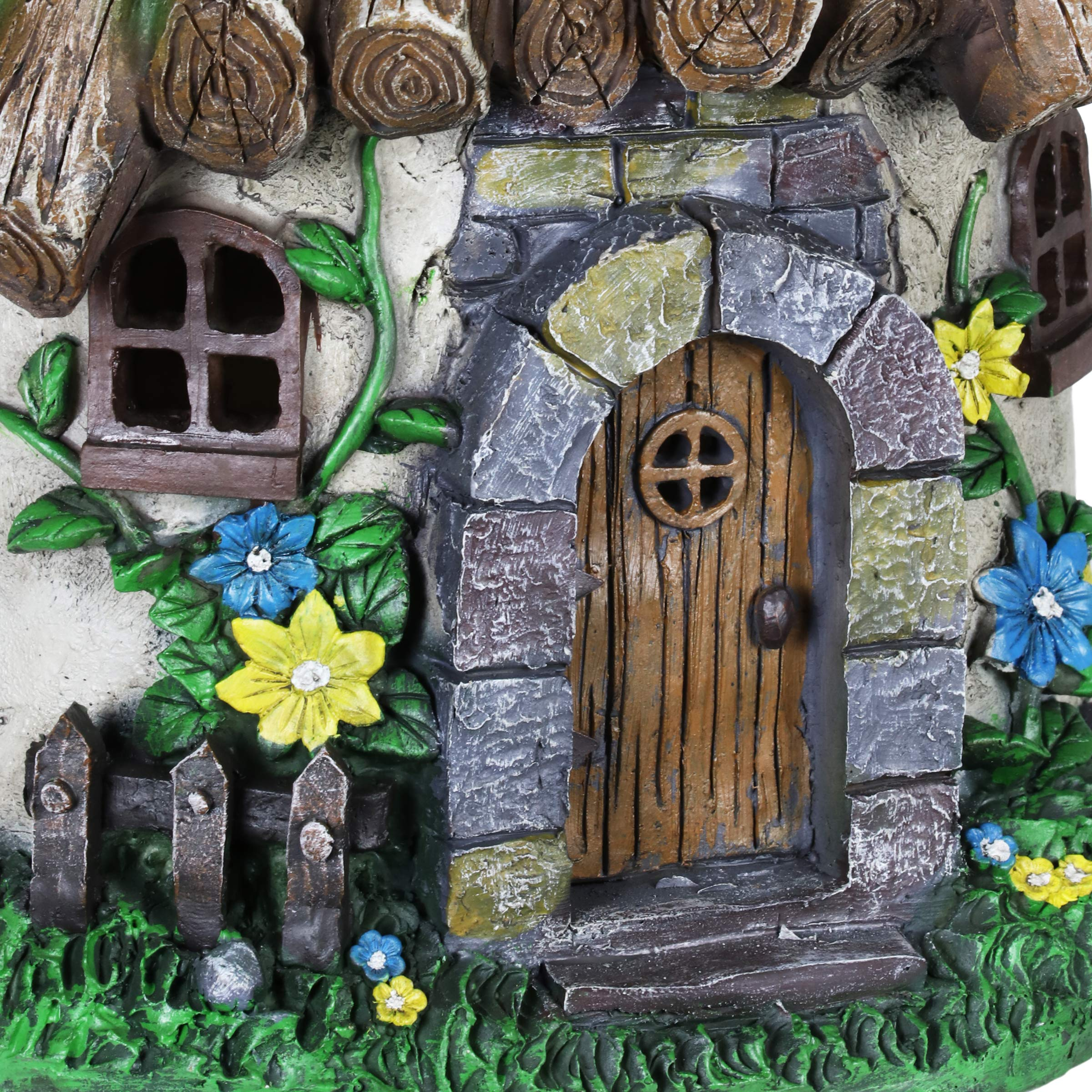 Exhart Twigs Roof Fairy House Outdoor Decor - Fairy Cottage Resin Statue with Solar Garden Lights, Miniature Fairy Hut Solar Home Decor for a Magical Fairy Garden, 9'' L x 9'' W x 15'' H by Exhart (Image #4)