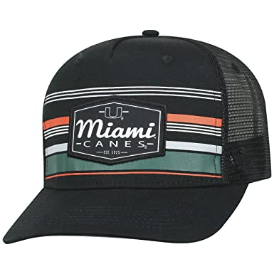 big sale ce916 7c599 Top of the World Miami Hurricanes Official NCAA Adjustable Route Mesh  Trucker Hat Cap Curved Bill