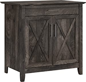 Bush Furniture Key West Secretary Desk with Keyboard Tray and Storage Cabinet, Dark Gray Hickory