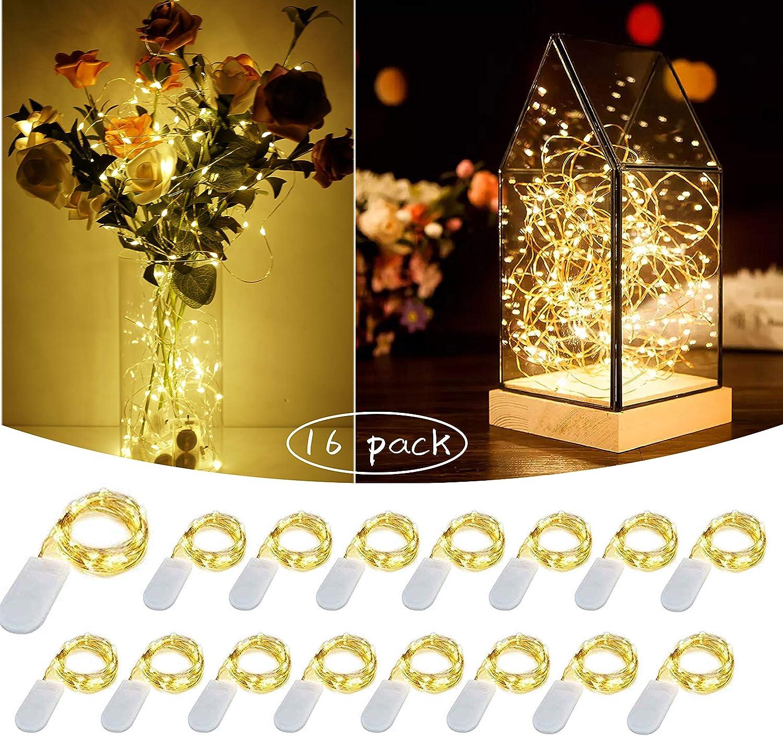 Mini LED Fairy String Lights 16 Pack 10 ft 30 LED Battery Powered Starry Lights for DIY Mason Jar Wine Bottle Costume Lighting for Home Bedroom Patio Wedding Christmas Decor (Warm White)