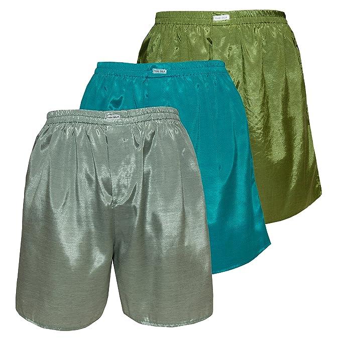 3er Hombre Ropa interior para dormir con comodidad Thai Silk Boxers color mixto (L,