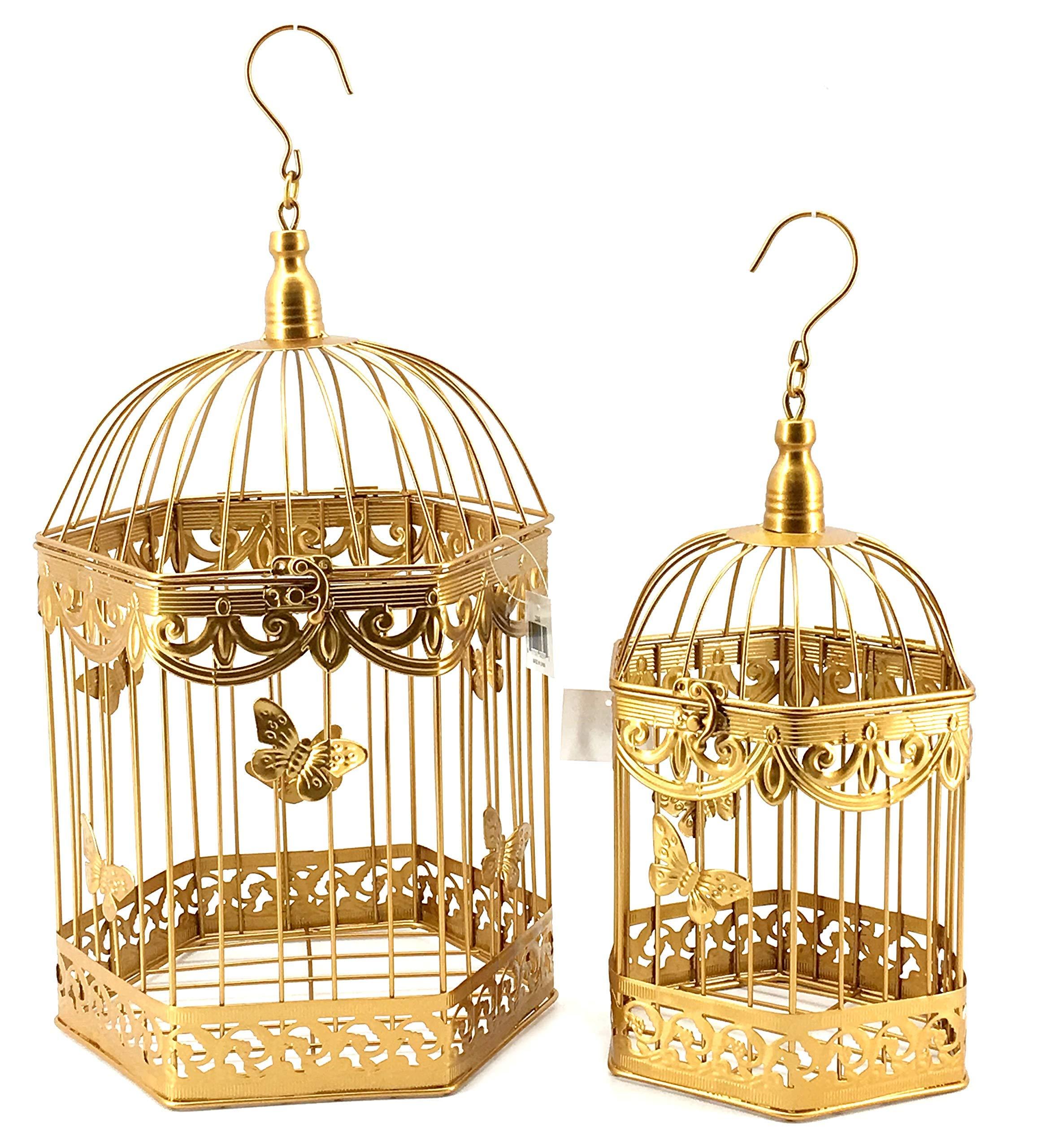 Bellaa 23592 Antique Vintage Bird Cages Metal 2Pcs 20 inch 16 inch Golden by Bellaa