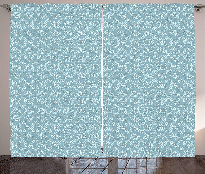 VamJump アンティーク遮光カーテン垂帘 窗帘 昼夜目隠し 遮像 デコレーション 取り付け簡単、ダマスク織のレトロリバイバルカーリーフラワーモチーフのバロック様式の葉飾り、リビングルームのベッドルームの窓飾り、ブルーグレーと白 2枚組 幅135cm丈215cm B07PTB1QFY スタイル3 135cmx215cmx2